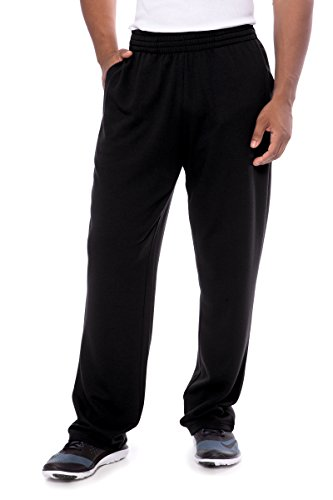 Men's Sweatpants Open Bottom - Loungewear Pants With Pockets by Texere (Theon, Black, Large) Popular Sports and Fitness Clothing Gifts For him TX-MB130-002-BLCK-R-L