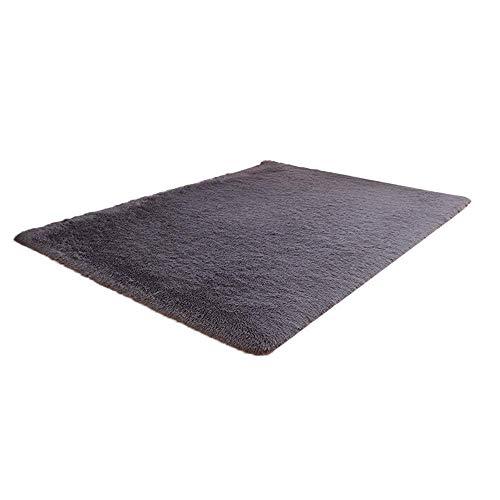 KLHNU Super Soft Indoor Modern Shag Area Silky Smooth Fur Rugs Fluffy Rugs Anti-Skid Shaggy Area Rug Dining Room Home Bedroom Carpet Floor Mat(B Gray,80 x 120cm)