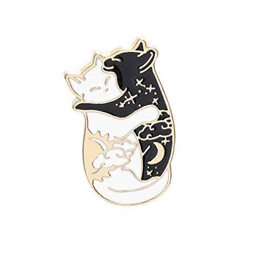 GUAngqi Black and White Cat Enamel Pin Cute Cat Lapel Pin Good Luck Lucky Charm Pin ()
