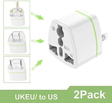 Luvfun [ 2 Unidades ] Universal Adaptador de Enchufe, Universal Adaptador Convertidor de Enchufe Viaje con Planos para EE.UU. /Japon/Cuba/Mexico/Tailandia/Canada/China etc– Blanco: Amazon.es: Electrónica