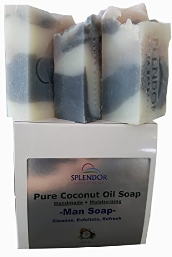 Pure Coconut Oil Soap for Men (10.5 oz) – Cleanse, Exfoliate, Refresh. Handmade, Vegan, Moisturizing, Activated Charcoal, Pumice and Hyaluronic Acid C…