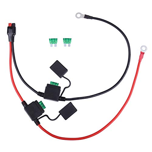 iGreely Dual Positive/Negative ATC Style Fuse Holder 10AWG Wire with Ring Terminals and 45A Connectors Compatible with Powerpole 2ft/60cm ()
