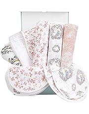 aden + anais Baby Gift Set for Newborn Boy & Girl, 8 Piece Baby Essentials, Wrapped with Keepsake Box