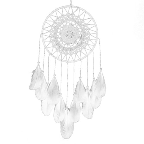 Euone Handmade Lace Dream Catcher Feather Bead Hanging Decoration Ornament Gift (White)