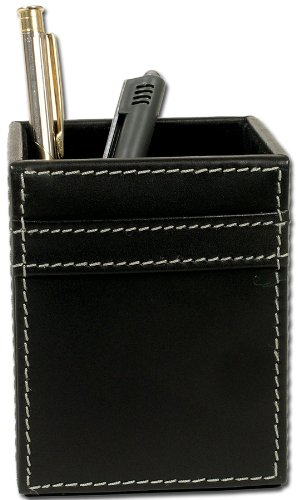 Dacasso Rustic Leather - Dacasso Rustic Black Leather Pencil Cup