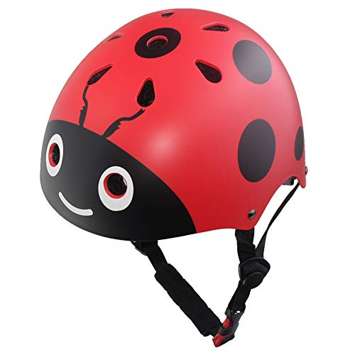LANOVAGEAR Kids Adjustable Ladybug Helmets CPSC Certified Cartoon Cute Skateboard Cycling Skate Helmet for Outdoor Sports Safety
