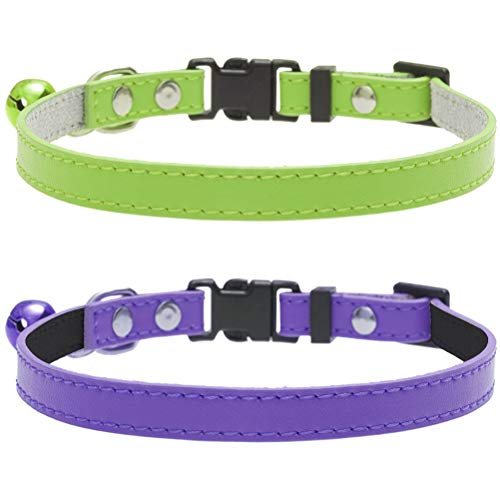 SCENEREAL Small Leather Dog Collar - 2 Pack Quick Release Soft Pet Adjustable Collars with Bell for Puppy Cat