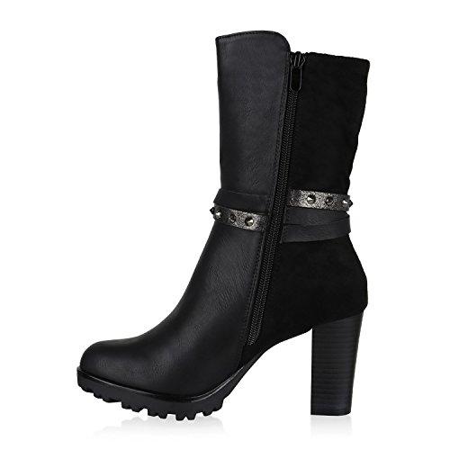 Stiefelparadies Damen Stiefeletten High Heels Plateau Schuhe Leder-Optik Spitze Flandell Schwarz Nieten