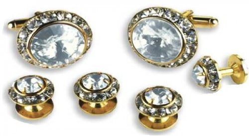 Crystal Clear Stone Center Austrian Crystal Tuxedo Studs and Cufflinks Gold Trim by David's Formal Wear