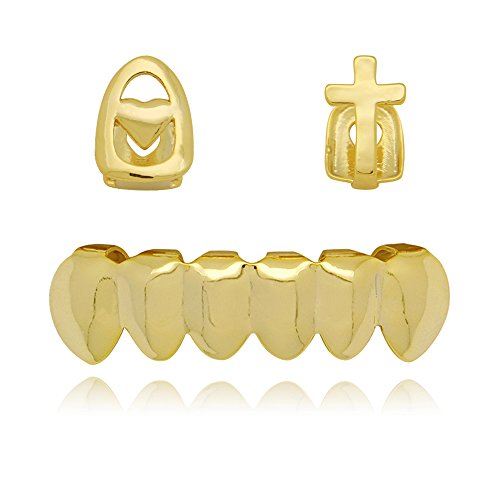 Lureen 2pc 14k Gold Cross Heart Single Fangs Teeth and 6 bottom Grillz Combo (Gold)