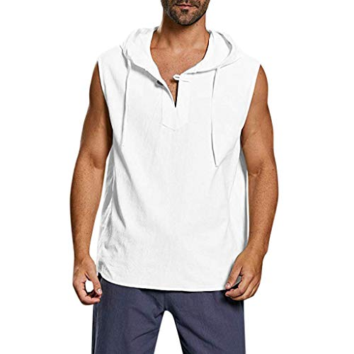 Men's Hoodie Hippie Henley Shirts Beach Ultra Soft Cotton Top Summer Casual Hooded Yoga Shirt Boho by URIBAKE White