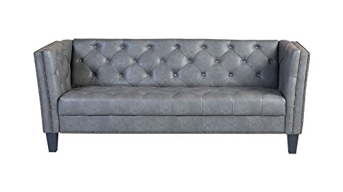 Italian Leather Daybed (Westwood Naples Grey Faux Leather 76-inch Tufted Sofa)