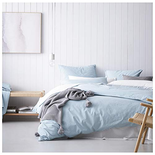 Pastel Blue Linen - Eikei Washed Cotton Chambray Duvet Cover Solid Color Casual Modern Style Bedding Set Relaxed Soft Feel Natural Wrinkled Look (Queen, Sky Blue)
