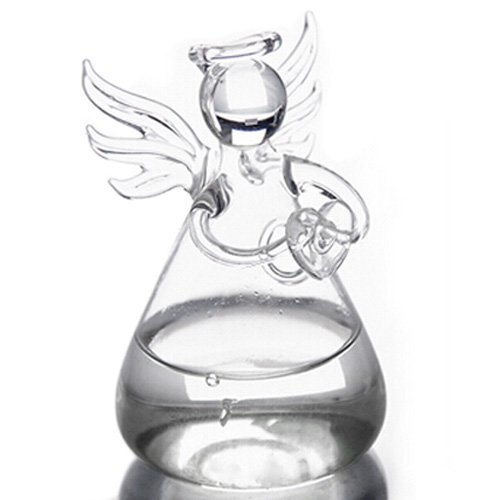 - BUYEONLINE Praying Angel Vases Crystal Transparent Glass Vase Flower Containers Hydroponic Containers Home Decorations Decor