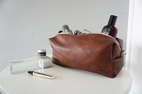 Men's Finest Leather Toiletry Bag | Groomsmen | Wash bag | Travel bag - Handmade in the EU (Chestnut Brown) by MILABERT