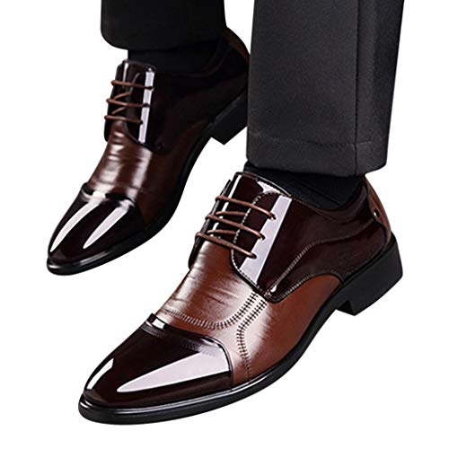 5216bdc41f Men's Lace Up Patent Leather Dress Shoes Pointed Toe Formal Business  Wedding Oxford Shoes Brown