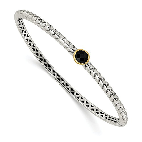(925 Sterling Silver 14k 6mm Black Onyx Bangle Bracelet Cuff Expandable Stackable 7.25 Inch Hinged Fine Jewelry Gifts For Women For)