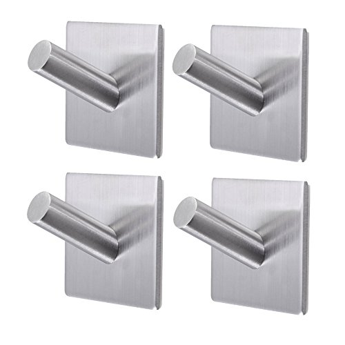Bathroom Towel Hooks,3M Self Adhesive Wall Hooks,Heavy Duty Stainless Steel Coat Hanger for Hanging