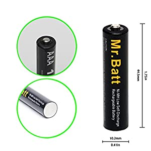 AAA Rechargeable Batteries (16 Pack) NiMh 1.2V 1000mAh High Capacity Low Self Discharge