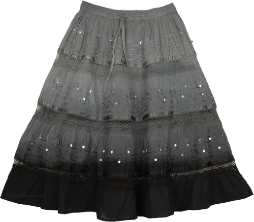 Grey Black Ombre Cotton Skirt L:27