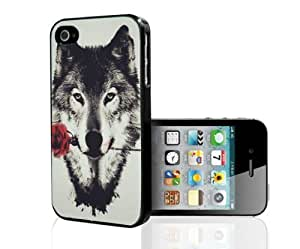 Wolf with Red Rose Hard Snap on Phone Case (Case For Iphone 5/5S Cover)