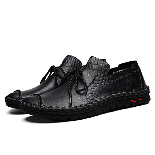 Leader show Mens Casual Round Toe Handmade PU Leather Boat Shoes Breathable Comfort Driving Loafer Black-3 8LhBb