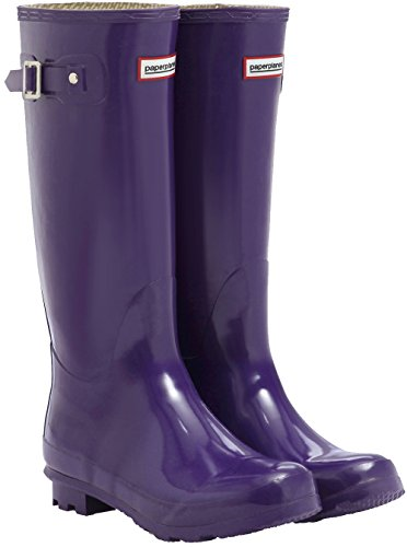 Trendy Wellington Boots Purple Garden Long Paperplanes Rain Women 1193 vBqEv7gw
