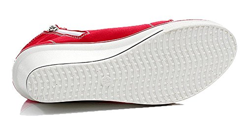 PADGENE Baskets Mode Compensées Montante Sneakers Tennis Scratch Chaussures Casuel Toile Femme Rouge E4MGeK