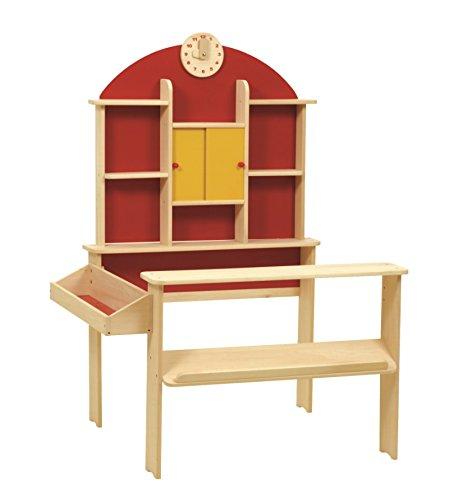 roba Kaufladen, Kinder Kaufmannsladen, Holz natur, Verkaufsstand mit Theke, Uhr, roter Rückwand & gelben Schiebetüren