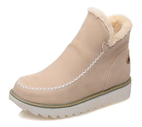 De Beige Chaussures Neige Bottines On Aisun Femme Fashion Slip 8qxEIntaw