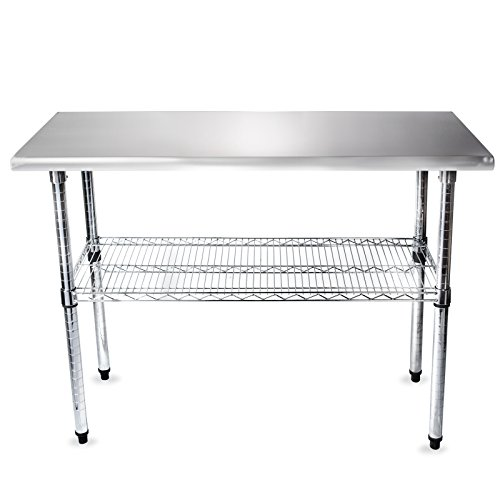 Gridmann NSF Stainless Steel Commercial Kitchen Prep & Work Table w/ Wire Lower Shelf - 49 in. x 24 in.