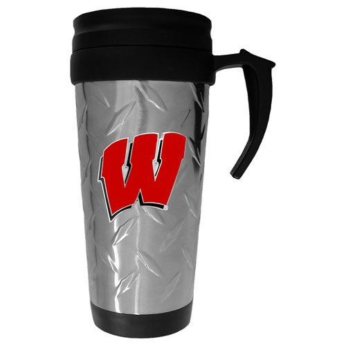 Wisconsin Badgers NCAA Diamond Plate Travel Mug