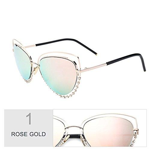 Rosa Mujeres mujer TL Gafas Sunglasses gafas Eye de bastidor diamantes Cat gafas metálico Pink dibujo sol estilo color de ECTqC