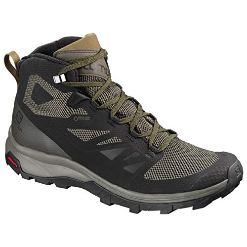 Salomon Men's Outline Mid GTX Hiking Shoe, Black/Beluga/Capers (Boot Light Hiking Gtx)