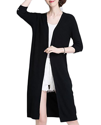 Cruiize Women's Autumn Knit 3/4 Sleeve Slim Mid-Length Open Front Coat Black One Size (3/4 Length Mid Coat Sleeve)
