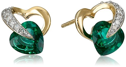10k Yellow Gold Created Emerald Diamond Heart Earrings (1/12 cttw, I-J Color, I2-3 (10k Gold Emerald Heart)