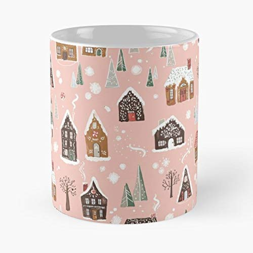 (Gingerbread Christmas Pink Whimsical - 11 Oz Coffee Mugs Unique Ceramic Novelty Cup, The Best Gift For Christmas.)