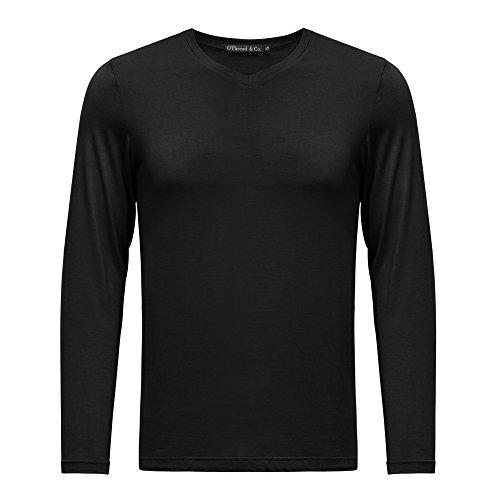 OThread & Co. Men's Long Sleeve V-Neck T-Shirt Plain Basic Spandex Tee (Small, Black)