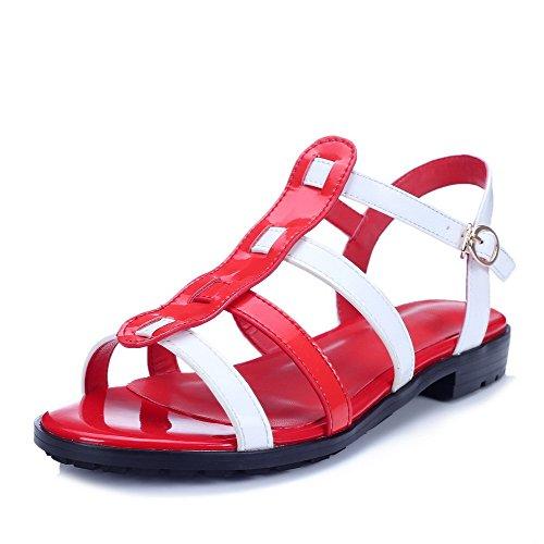 Amoonyfashion Kvinna Lackläder Spänne Öppen Tå Låga Klackar Diverse Färg Sandaler Röda