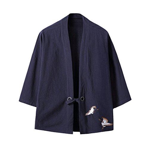 Hzcx Fashion Men's Cotton Blends Linen Open Front Cardigan Kimono Jackets QT4018-M708-60-NA-US S(36) TAG (Cotton Blend Cardigan)