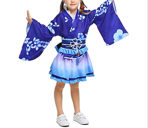 Mitef Yukata Cosplay Daily Wear Summer Short Kimono Halloween Cosplay Girl Dress, S, Blue -