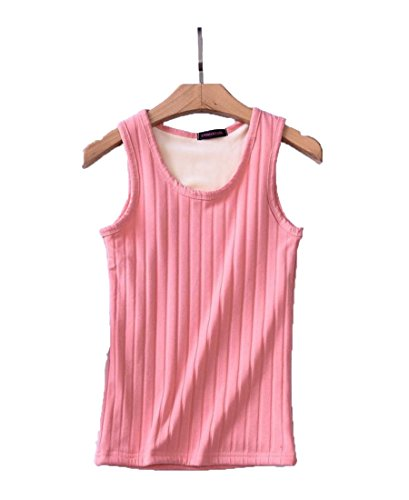 Womens Basic Camisole Thermal Underwear Thick Fleece Lined Cami Tank Top Pink M (US 0) ()