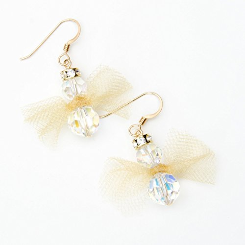 Holiday Angel Earrings with Swarovski Crystals and 14K Gold-Filled French Ear Wires in Gift Box ()