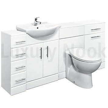 550 Mm Weiss Hochglanz Badezimmer Unterschrank Pack 4 Schubladen