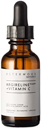 ARGIRELINE Peptide + Vitamin C 1 oz Serum with Organic Hyaluronic Acid, Anti Aging, Amazing Sun Damage Repair and Botox Alternative ASTERWOOD NATURALS Glass Bottle