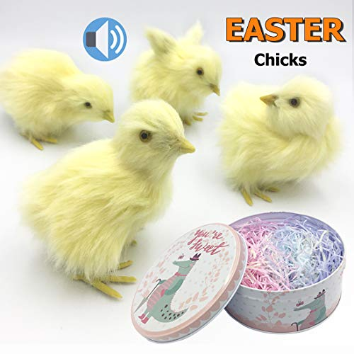 - Easter Decorations for Home, 4 Pack Easter Chicks for Easter Basket with Grass, Spring Easter Baby chick for Photography, Baby Shower Kids Newborn Easter Prop,Realistic Chicken with Chrip Iron Storage