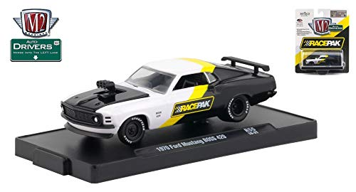 M2 Machines 1970 Ford Mustang BOSS 429 (RACEPAK) Auto-Drivers Release 55 - Castline 2019 Special Edition 1:64 Scale Die-Cast Vehicle & Custom Display Base (R55 18-31)