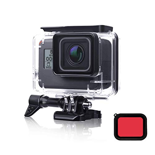 FINEST+ Waterproof Housing Shell for GoPro Hero 7/2018/6/5 Black Diving Protective Housing Case 45m with Red Filter and Bracket Accessories for Go Pro Hero7/(2018) 6/5 Action Camera from FINEST+