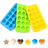 Silicone Chocolate Molds & Candy Molds - Ankway Set of 3 Non Stick BPA Free Small Flexible Hearts, Stars & Shells Baking Wax Molds Silicone Ice Cube Trays Mini Ice Maker Molds(15 Cups)