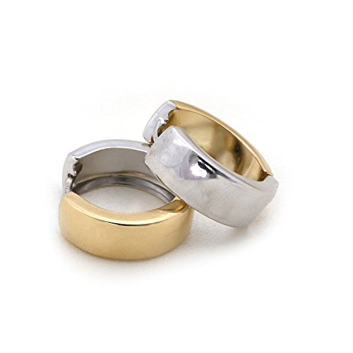14k White and Yellow Gold 6mm Two-Tone Reversible Huggie Hoop Earrings, 0.6